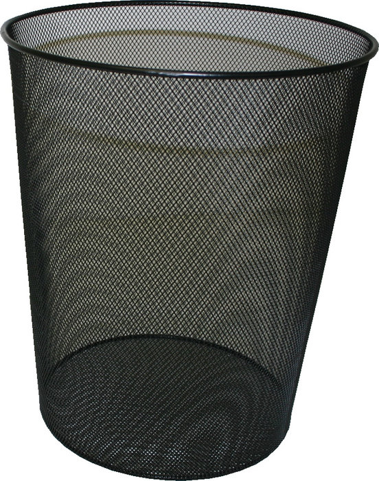 Papelera metalica rejilla negra