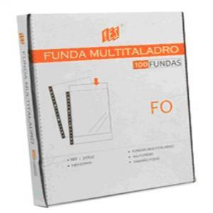 Funda multitaladro folio pp cristal 70 micras lisa 100u