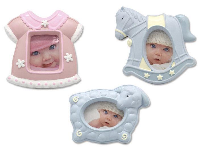Portafotos ceramica baby bautizos rosa y azul