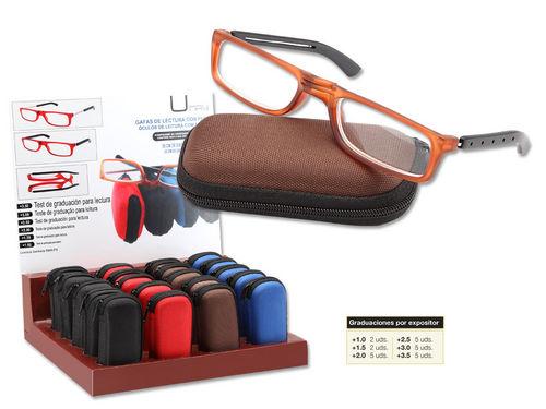 Expositor 24 gafas lectura umay plegable bicolor cremallera