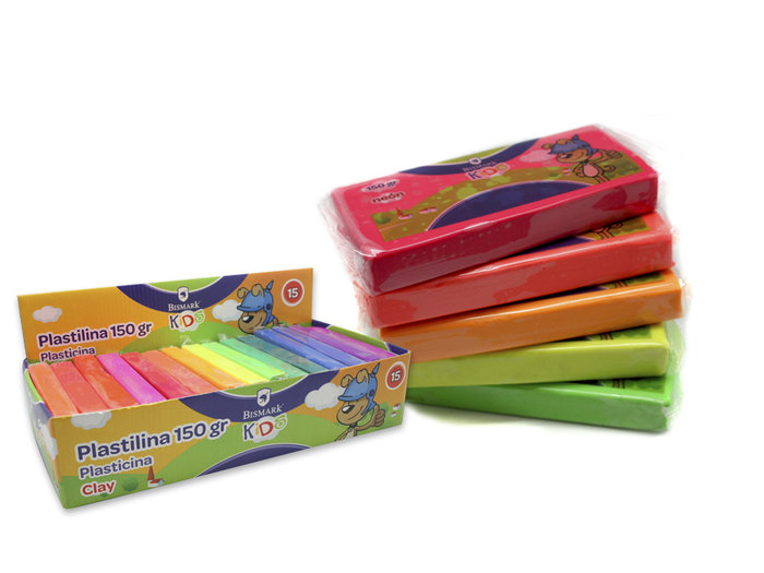 Expositor 15u plastilina barra 150grs colores neon
