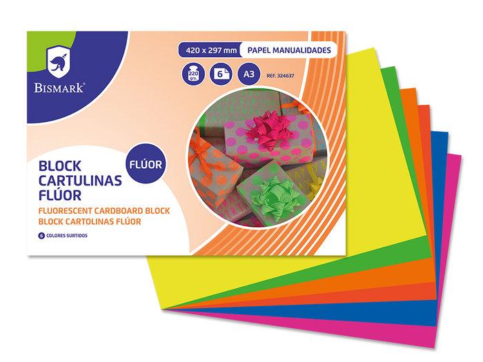 Bloc 6 cartulinas a3 fluorescentes 6 colores