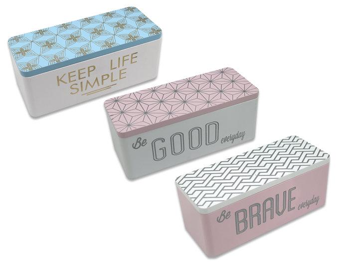 Caja rectangular con mensajes diseños surtidos