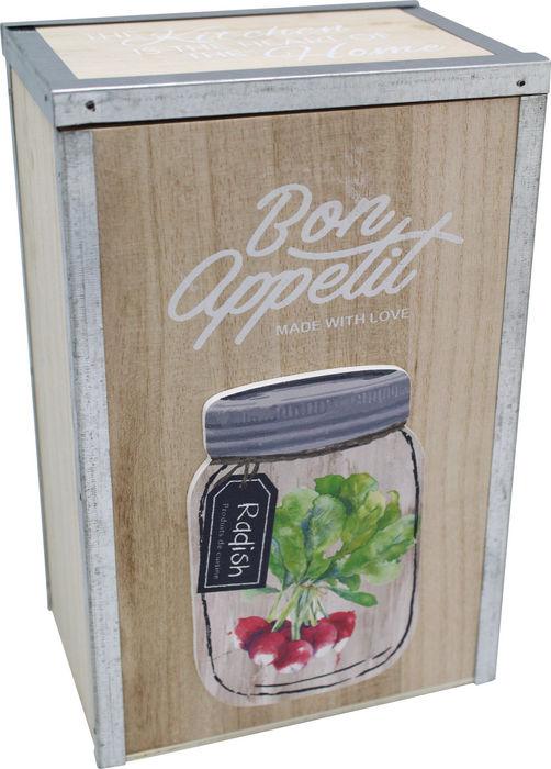 Caja madera refuerzo de metal kitchen