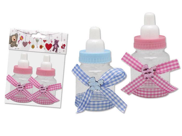 Mini biberones rosas y azules set 2 unidades