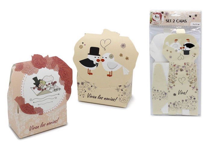 Cajas regalo boda 7 x 11 cm set 2 unidades