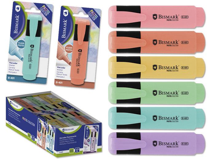 Expositor 24 rotuladores fluorescentes pastel bismark
