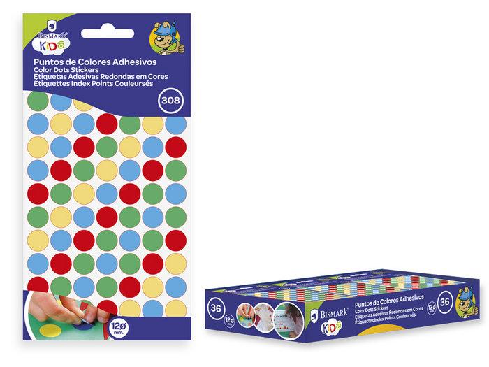 Puntos de colores adhesivos 12mm 4x77 unidades