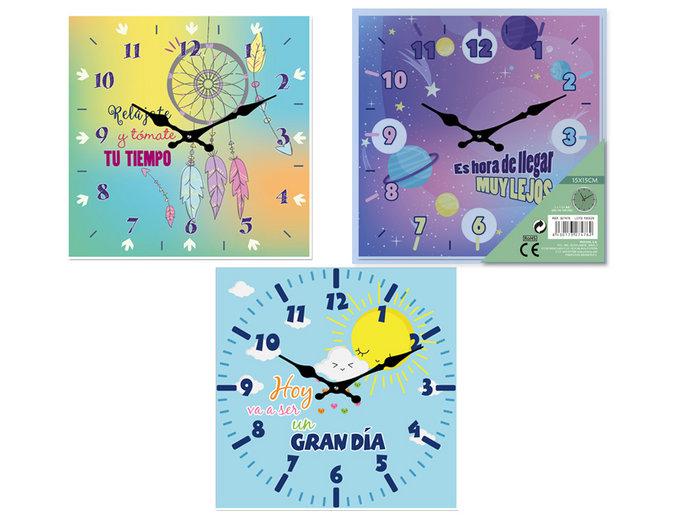 Reloj cristal mensajes peana 15x15cm surtido