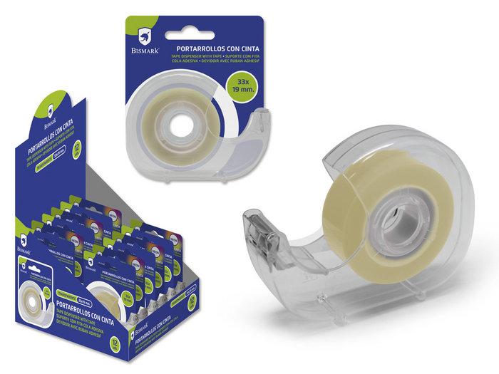Portarrollos cinta adhesiva transparente 33x19mm