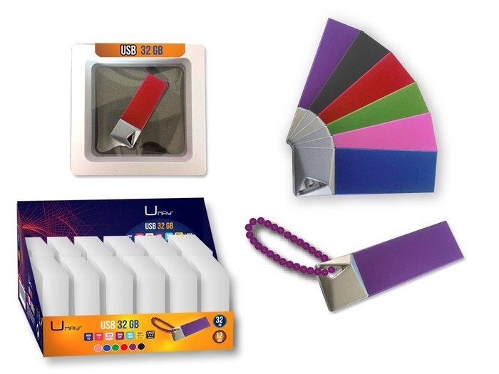 Memoria usb umay 32gb metalico con cadena colores