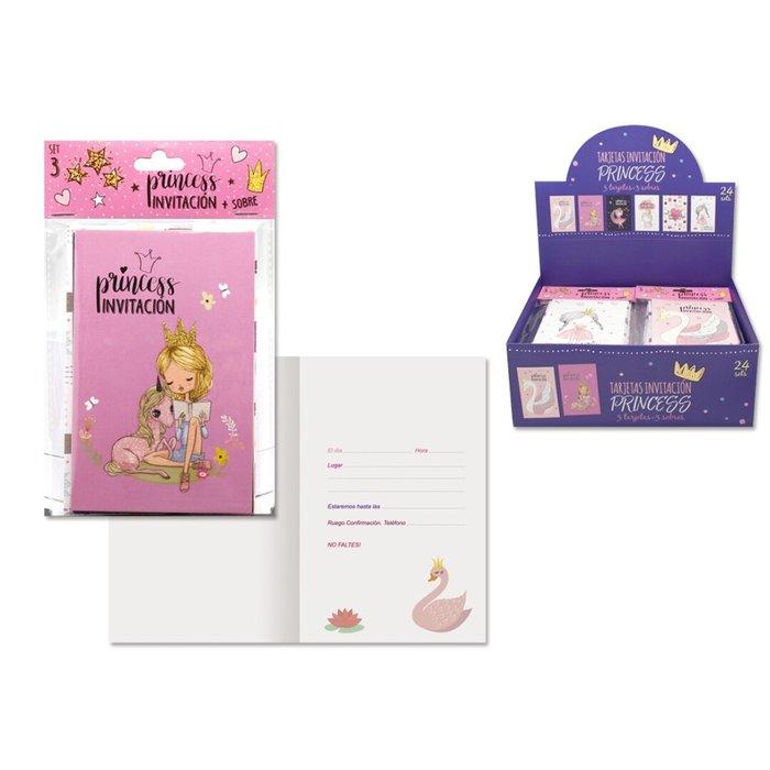 Tarjetas invitacion princess 3 tarjetas y 3 sobres