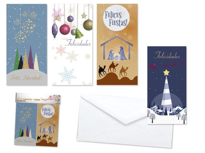 Set 2 tarjetas felicitacion glitter navidad + sobres