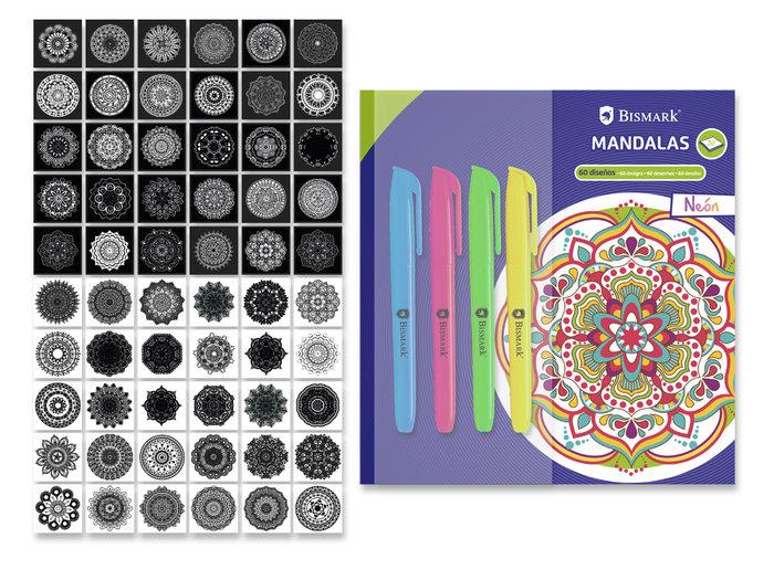 Libro para colorear mandalas con 4 rotuladores neon blister