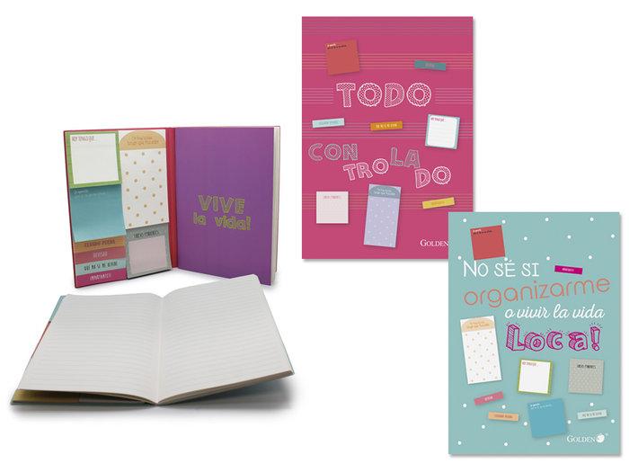 Libreta golden 40 hojas con notas adhesivas mensajes