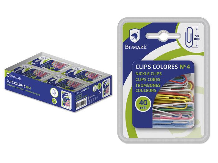 Clip colores nº 4  50mm 40u bismark blister