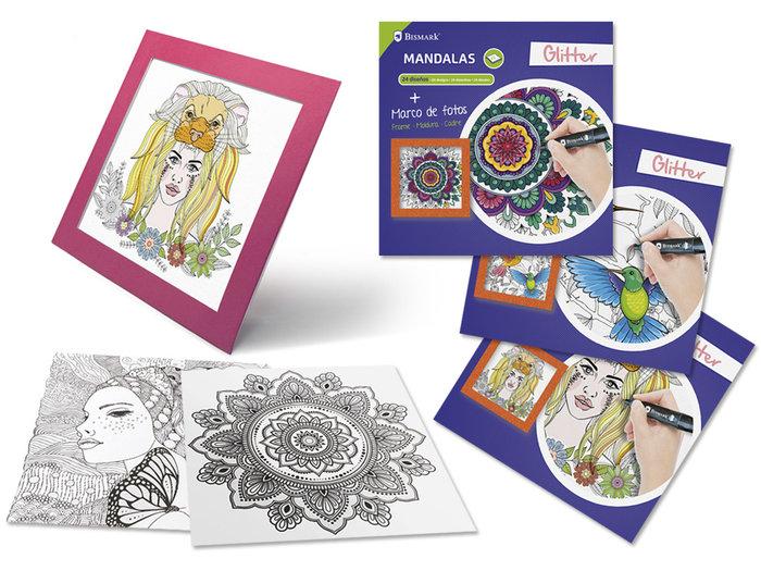 Libro mandalas con glitter y marco fotos 24 hojas