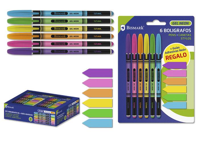 Set 6 boligrafos gel neon + 6 guias adhesivas blister