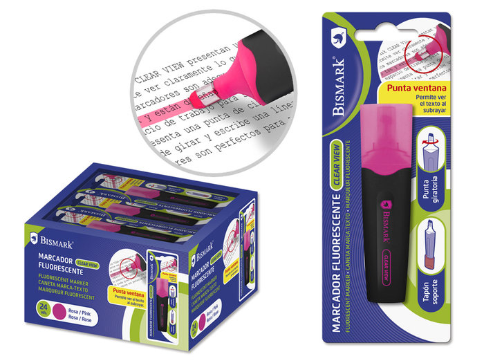 Marcador fluorescente black punta ventana rosa blister