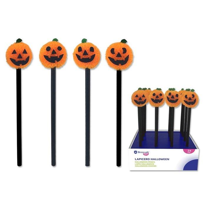 Expositor 16 lapices pompom calabaza halloween