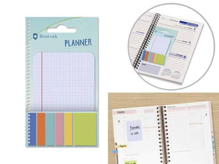 Mini notas adhesivas colores + cuaderno notas cuadricula