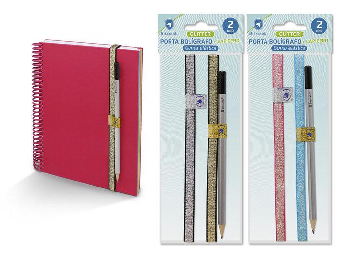 Portaboligrafo elastico glitter 2u + lapicero