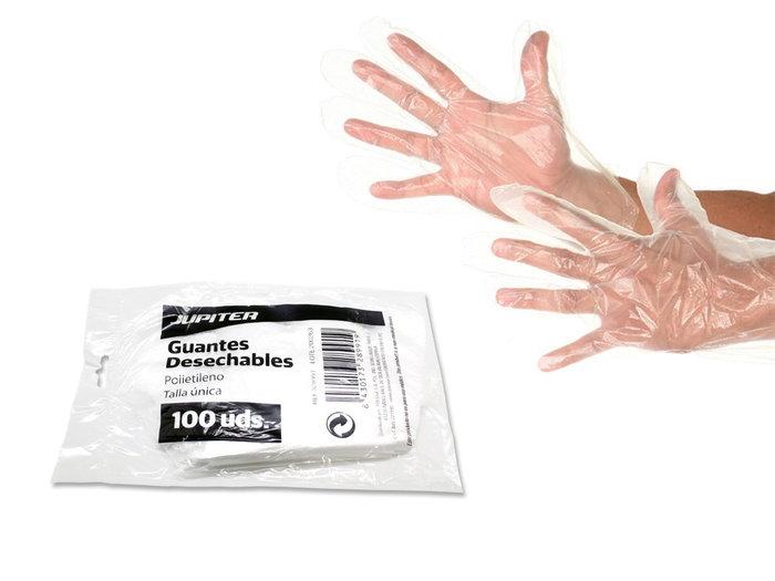 Pack 100u guantes desechables jupiter polietileno talla uni