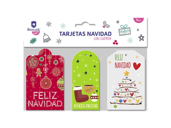 Set 9 tarjetas navidad foil con cuerda
