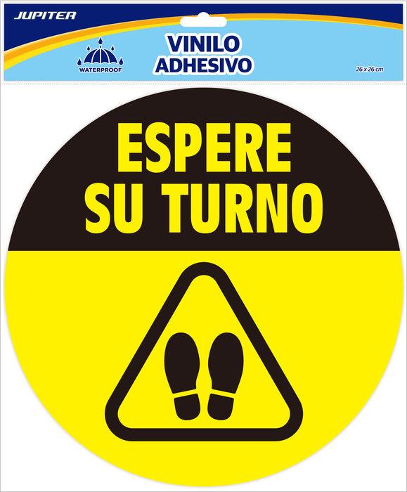 Vinilo recomendacion covid19 espera turno redondo