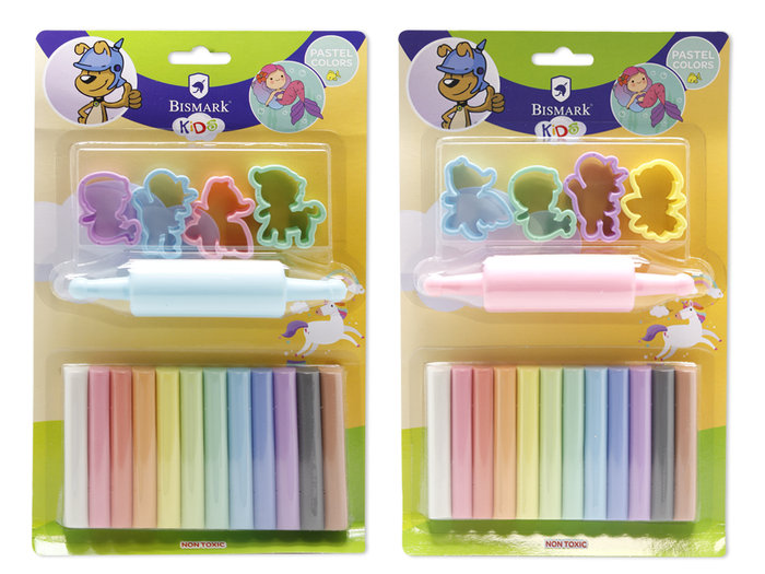 Set plastilina pastel 12 colores con moldes fairy tale