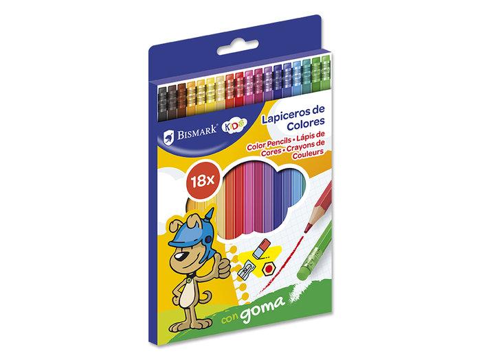 Lapices 18 colores con goma