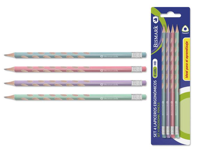 Lapices pastel ergonomicos pack 4u