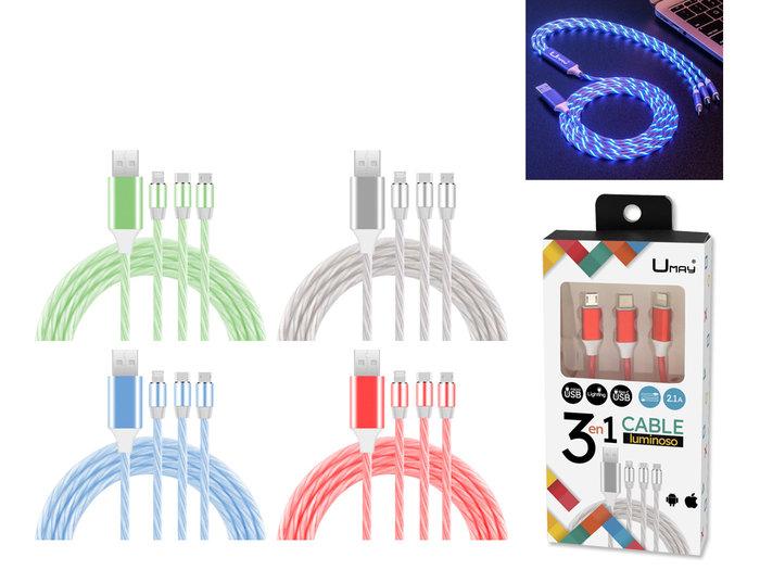 Cable cargador 3 en 1 con luz