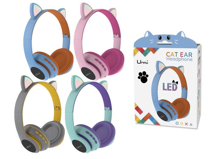 Auriculares bluetooth con microfono y luz cat ears