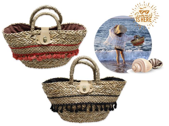 Capazo playa yute decoracion borlas isla canela