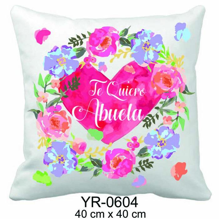 Cojin 40x40 te quiero abuela heart/flowers