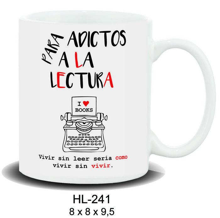 Taza mensaje para adictos a la lectura