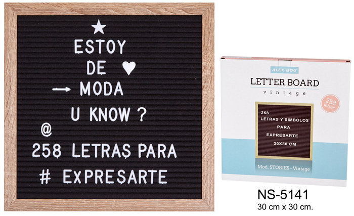 Pizarra para mensajes 30x30 cm con 258 letras