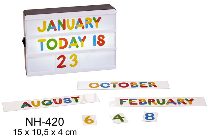 Caja de luz led para calendario perpetuo colores