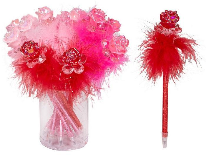 Expositor 12 boligrafos de plumas rosas rojas
