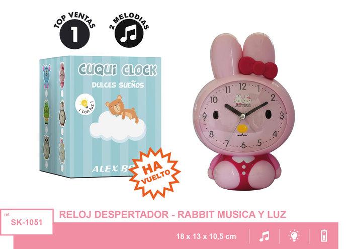 Reloj despertador con musica conejo