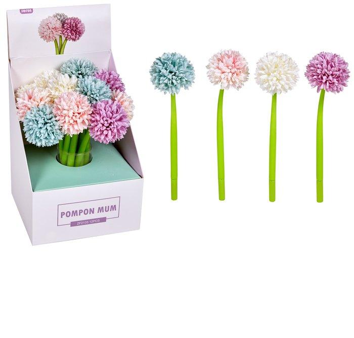 Expositor 16 boligrafos gel pom pom flowers