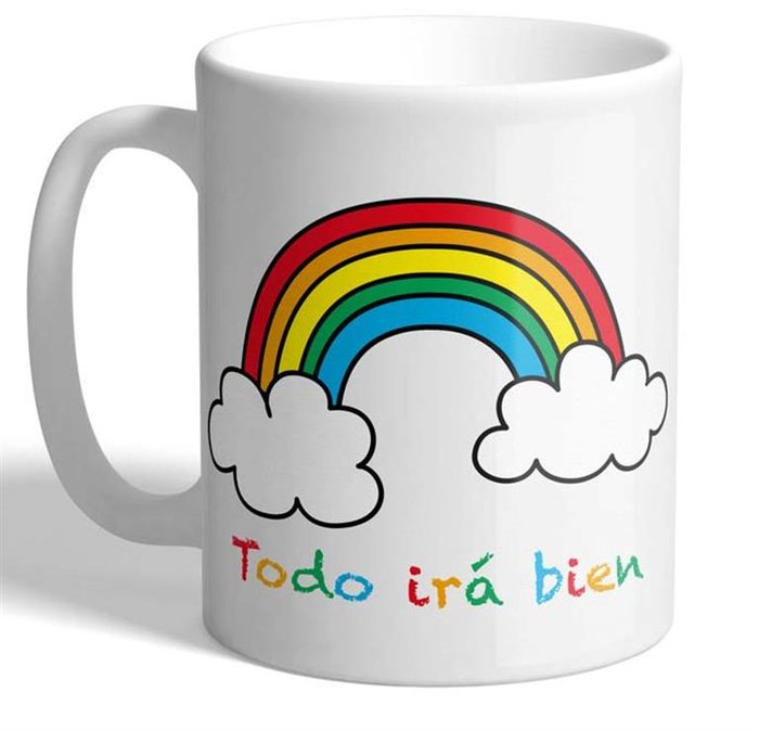 Taza todo ira bien arco iris