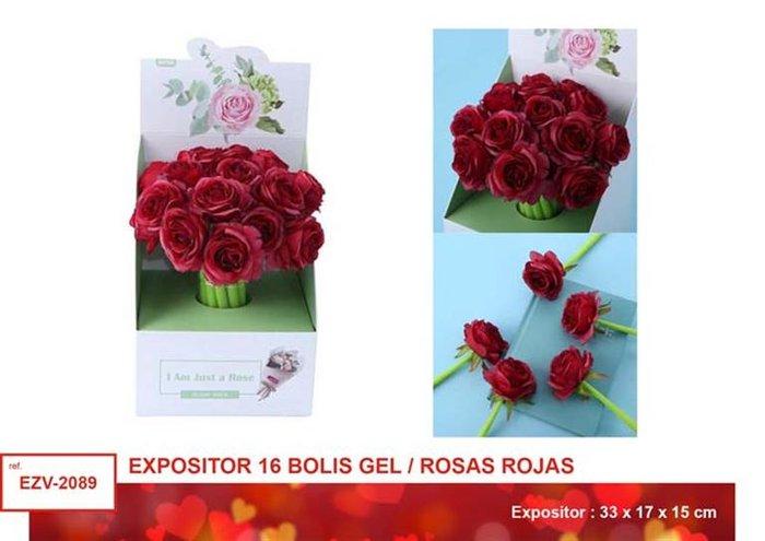 Expositor 16 boligrafos gel rosas rojas