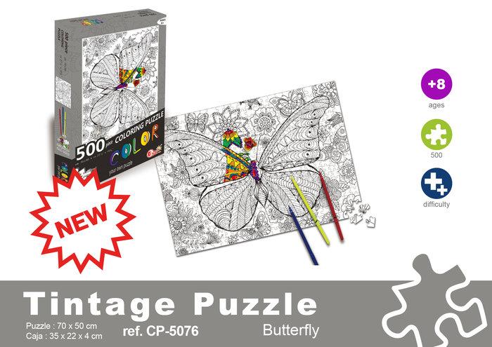 Puzzle 500 piezas mariposa + rotuladores