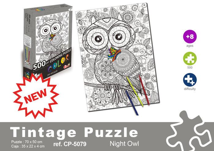Puzzle 500 piezas buho + rotuladores