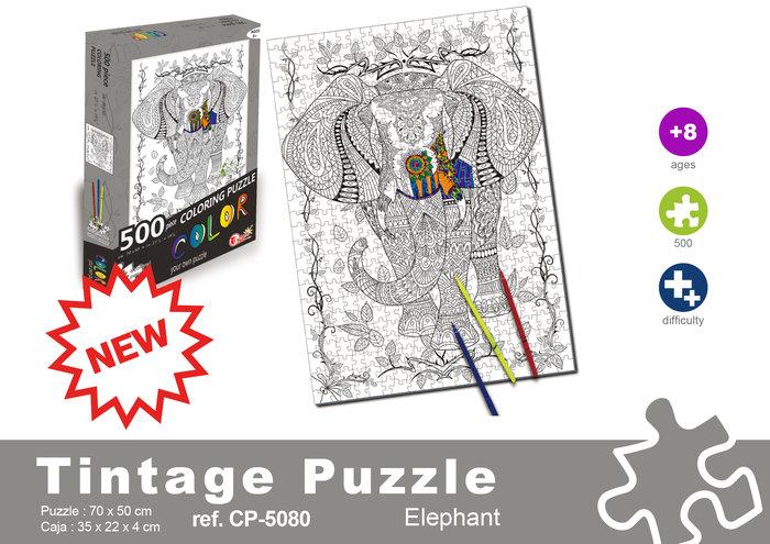 Puzzle 500 piezas elefante + rotuladores