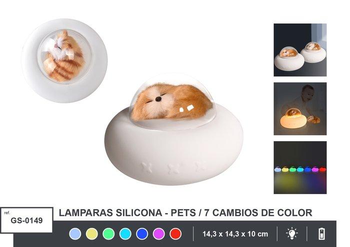 Lampara silicona perro surtida con 7 cambios de color