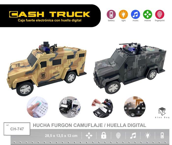 Hucha furgon camuflaje con huella digital surtida