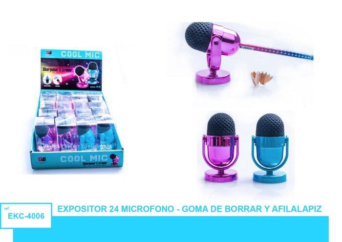 Afilalapiz con goma microfono 24 unidades surtidas